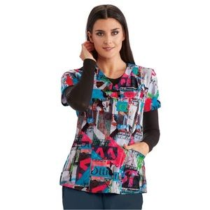 Barco one graffiti print scrub top